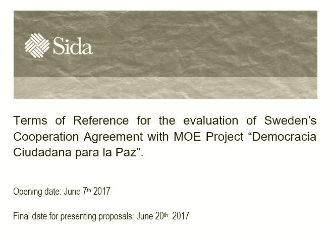 """Convocatoria para evaluar el proyecto """"Democracia Ciudadana para la Paz"""""""