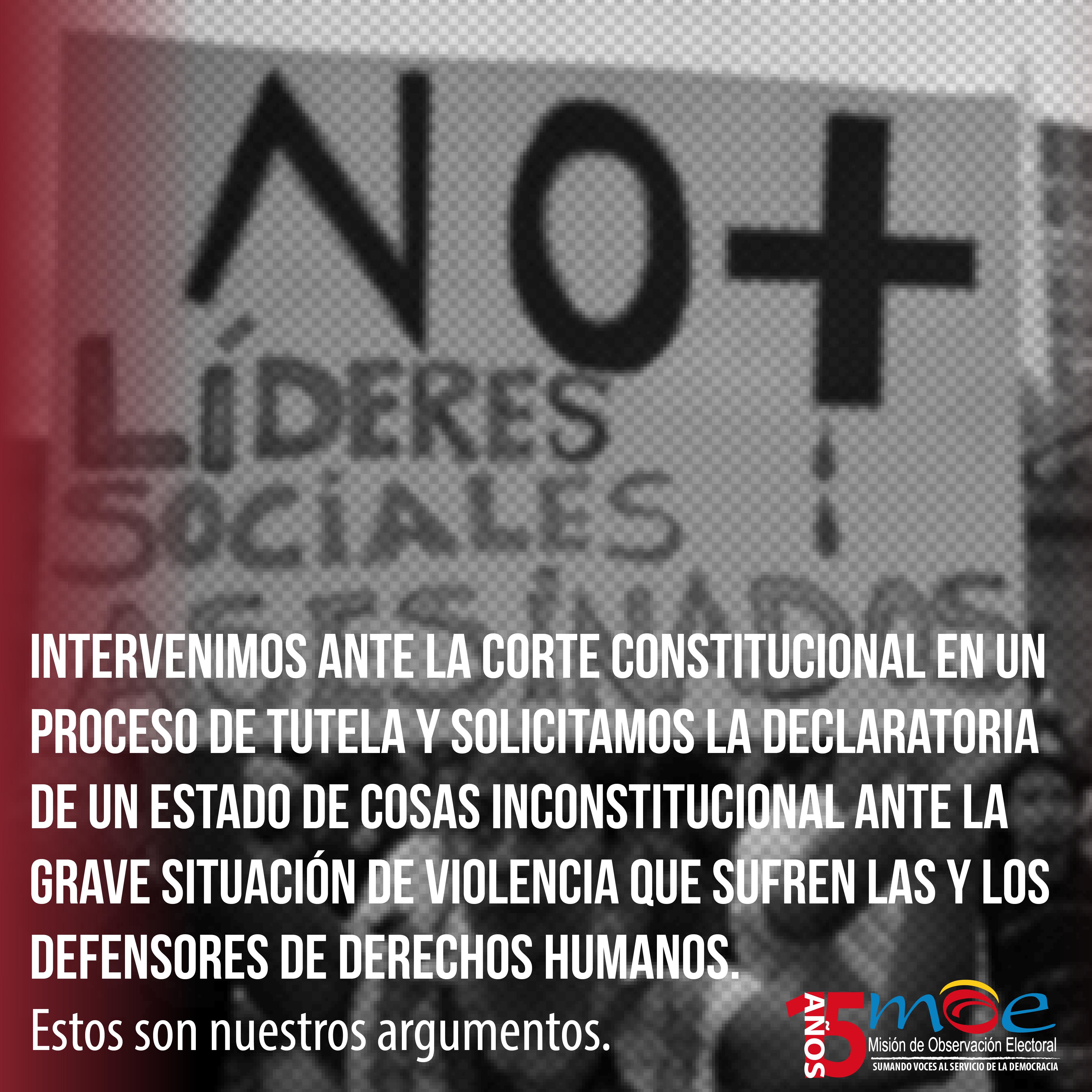 Intervención Ante La Corte Constitucional. Violencia contra Lideres Sociales