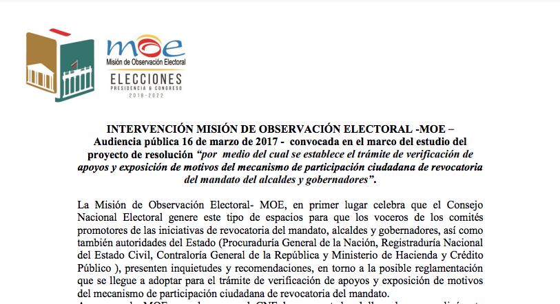 Intervención Misión de Observación Electoral -MOE – audiencia pública 16 de marzo de 2017