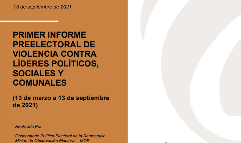 Primer informe preelectoral de violencia contra líderes políticos, sociales y comunales