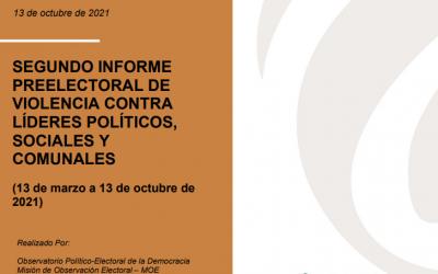 Segundo informe preelectoral de violencia contra líderes políticos, sociales y comunales